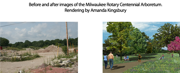 Before and after images of the Milwaukee Rotary Centennial Arboretum