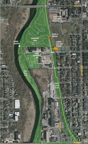 A map of the Arboretum project: 40 acres of land that includes Riverside Park and donated land spanning from bluff to bank along the Milwaukee River and along the Oak Leaf Trail from Locust St. to North Ave.