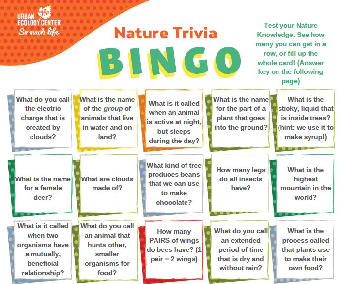 Nature Trivia Bingo