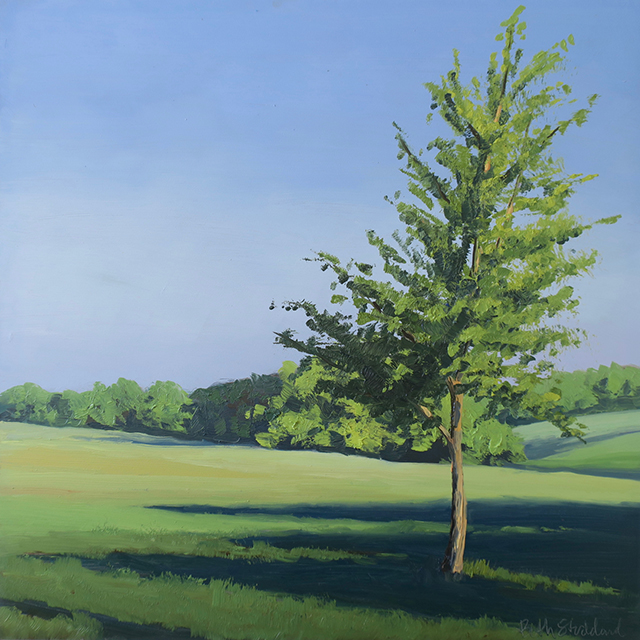 Painting of tree in a field with a blue sky