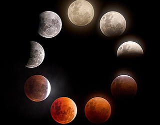Composite of different phases of the lunar eclipse January 2018