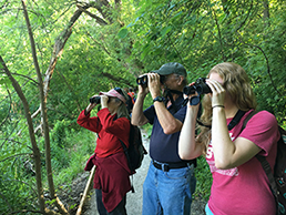 A teen, a man, and a woman looking through binoculars in a wooded area in Riverside Park.