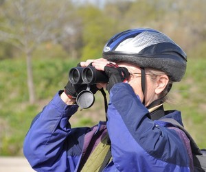 Side view of a bicyclist looking straight ahead through binoculars.