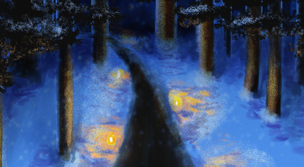 Image of a candlelit path in the woods