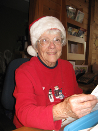 Pat Mueller, age 91, has been a reception volunteer for more than 10 years and has been a friend of the Center since its inception.