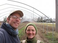 Jeff and Kelly in their hoop house